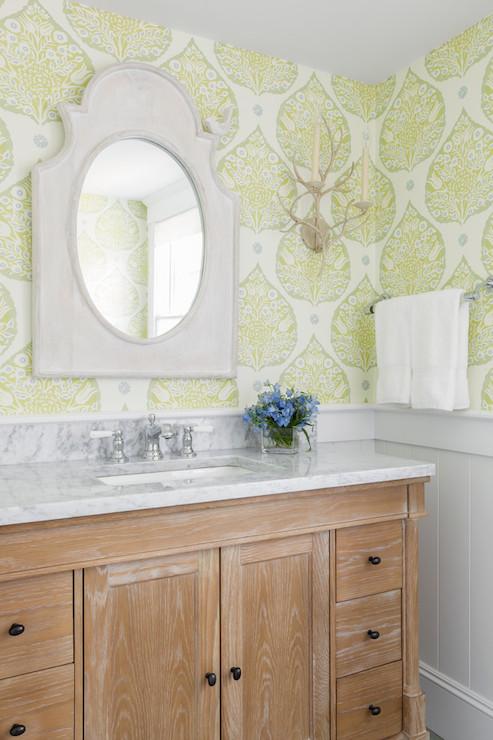 Vintage Pin Up Girl Wallpaper Oak Washstand Transitional Bathroom Reiko Feng Shui