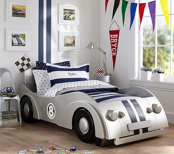 Baby Girl Bedroom Wallpaper Roadster Silver Twin Bed