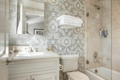 Gray Damask Wallpaper - Transitional - bathroom - Corcoran