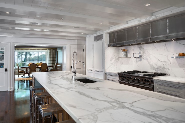Lighting Over Kitchen Island Statuary Countertops - Transitional - Kitchen - Vincent