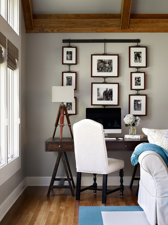 X Based Wood Desk with Gray Chair - Cottage - Living Room - desk in living room