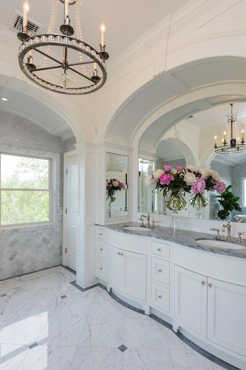 Double Sink Bathroom Vanity Arched Bathroom Alcove With French Washstand And Venetian