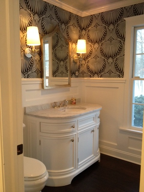 Black And White Wallpaper Decor Odeon Single Vanity Sink Transitional Bathroom Space