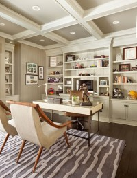 Painted Coffered Ceiling - Transitional - den/library ...