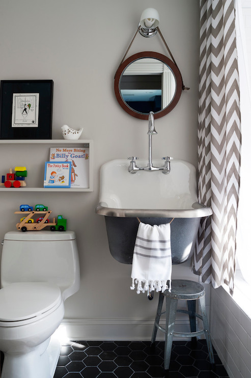 Black And White Wallpaper Decor Kohler Bannon Sink Contemporary Bathroom Breeze
