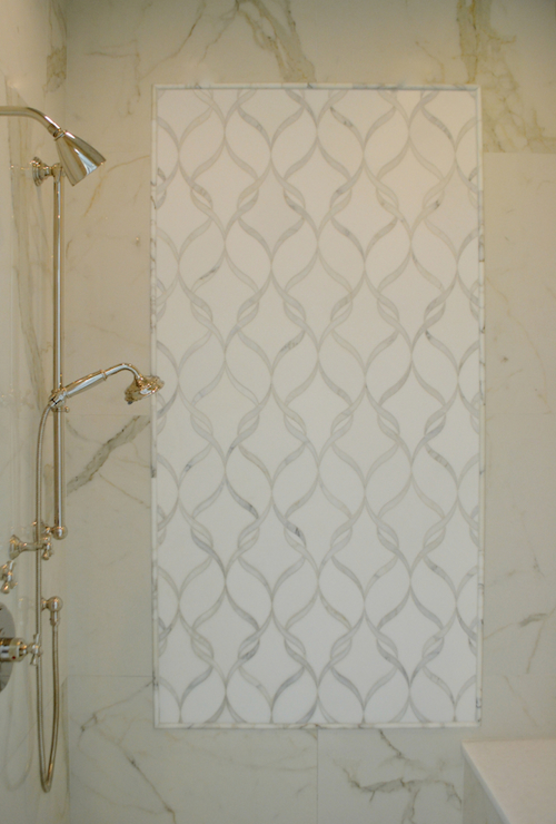 Black And White Feature Wall Wallpaper New Ravenna Sophie Tiles Transitional Bathroom