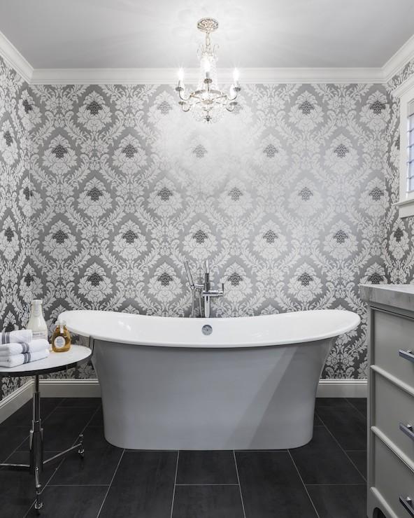 3d Brick Wallpaper For Walls Gray Damask Wallpaper Transitional Bathroom Heather