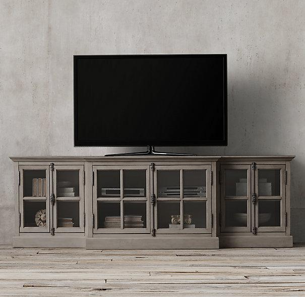 Industrial Media Console French Casement Glass Media Console I Restoration Hardware