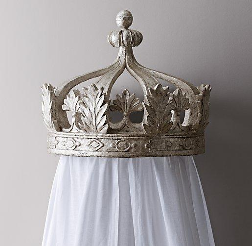 Toddler Girl Bedroom Wallpaper Heirloom White Demilune Metal Canopy Bed Crown