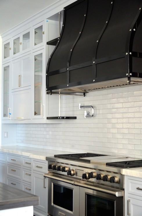 Black Marble Wallpaper Black Range Hood Transitional Kitchen Rt Abbott