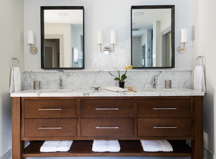 Hudson Lighting Wall Sconces White Herringbone Tile Backsplash - Transitional