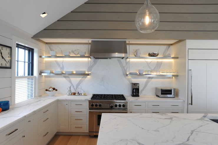 Floating Island Kitchen Cabinet Calacatta Gold Marble Countertops - Transitional - Kitchen