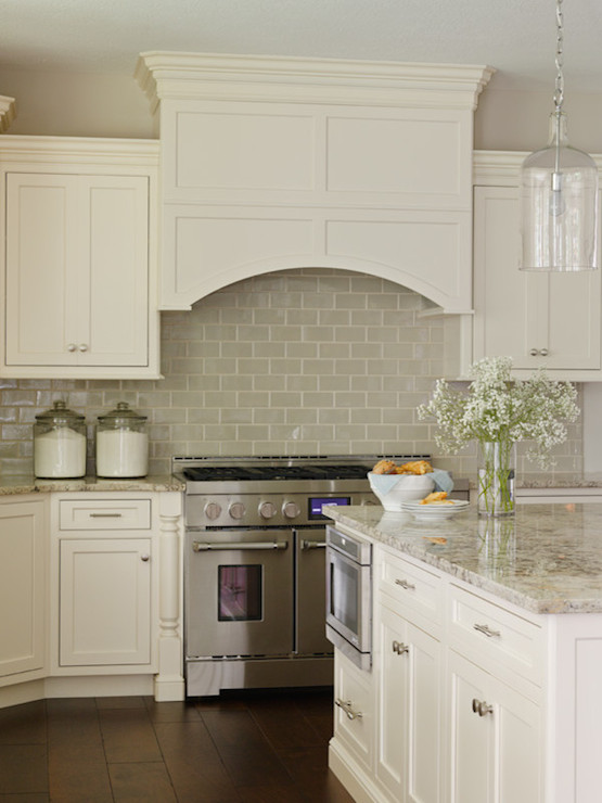 Mosaic Pendant Light Ivory Kitchen Cabinets With Gray Backsplash - Design