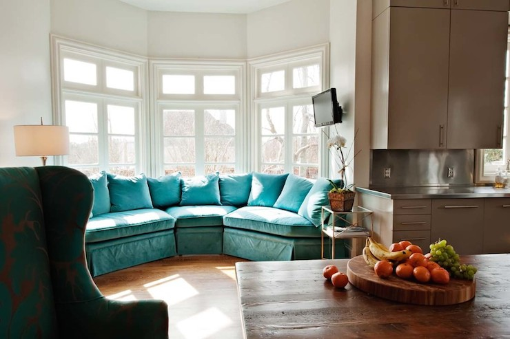 Samt Couch Turquoise Sectional Sofa - Cottage - Living Room - Amanda