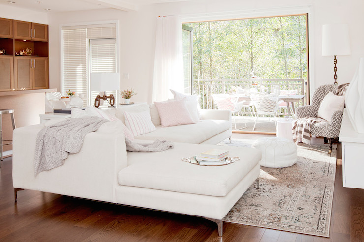 White Sectional - Transitional - Living Room - The Cross Decor - white sectional living room