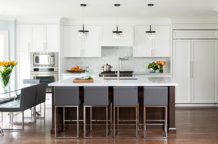 Transitional Kitchen Design Gray Counter Stools - Transitional - Kitchen - Jodie Rosen