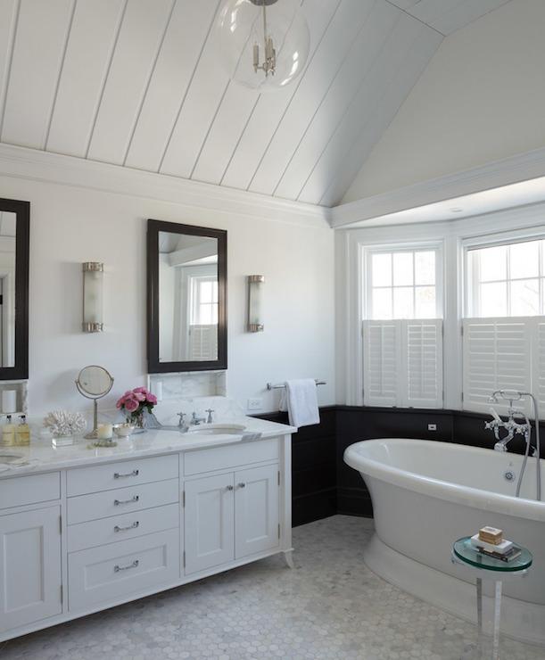 Black Keys Wallpaper White Vanity With Black Mirror Transitional Bathroom