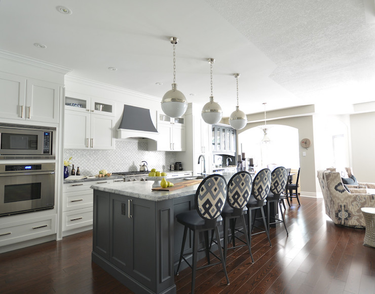 Kitchen Islands With Storage And Seating White Kitchen With Gray Island - Transitional - Kitchen