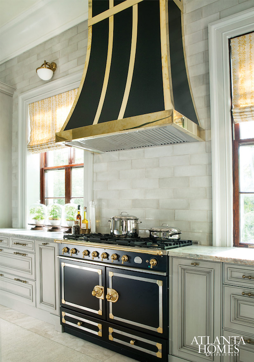 Black And White Striped Wallpaper Black And Gold Kitchen Hood Transitional Kitchen