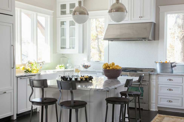 Stainless Steel Topped Kitchen Islands Farmhouse Kitchen Cabinets - Country - Kitchen - Phoebe Howard