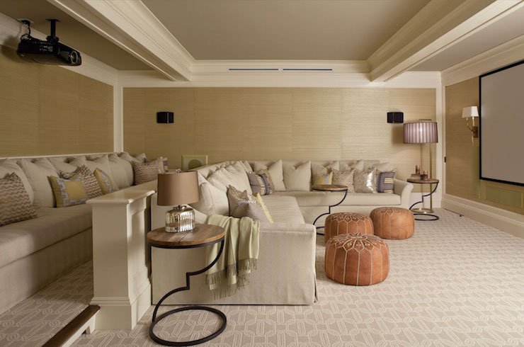 Velvet Sofa Taupe Movie Room Design Ideas