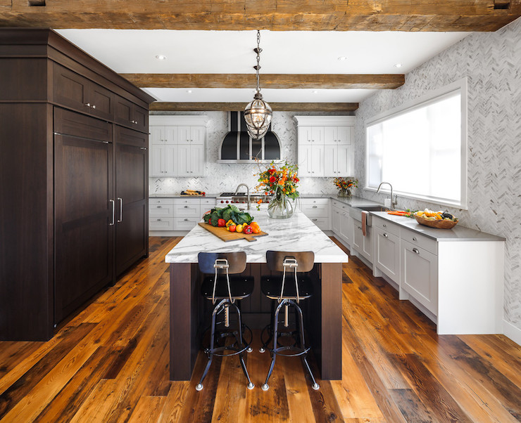 Kitchen Island Overhang For Stools Gray Kitchen Ideas - Contemporary - Kitchen - Artistic