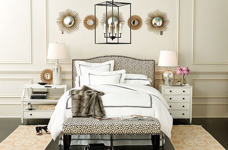 Snow Girl And The Dark Crystal Wallpaper Bedroom With Mismatched Nightstands Transitional