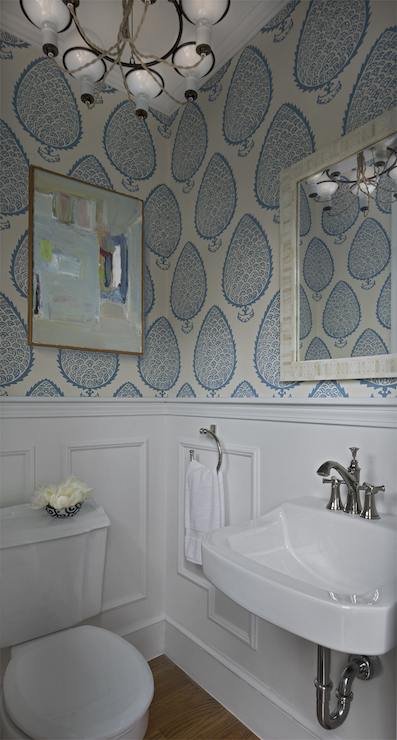 Powder Room with Wainscoting - Transitional - Bathroom - Cloth and Kind