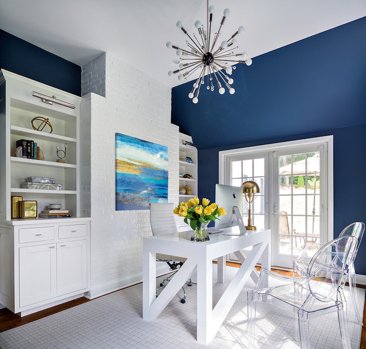 White and Navy Rooms - Contemporary - Den/library/office - Benjamin