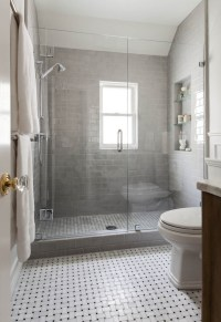 Shower with Gray Subway Tiles - Transitional - Bathroom ...