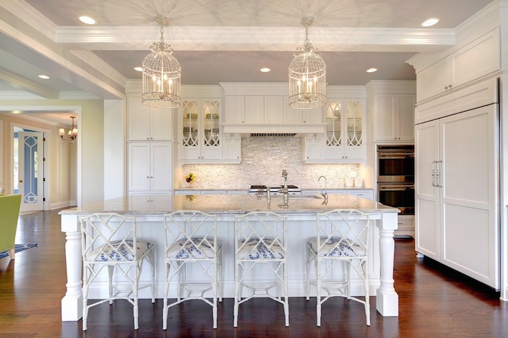 Island Tables For Kitchen With Stools White Bamboo Counter Stools - Transitional - Kitchen