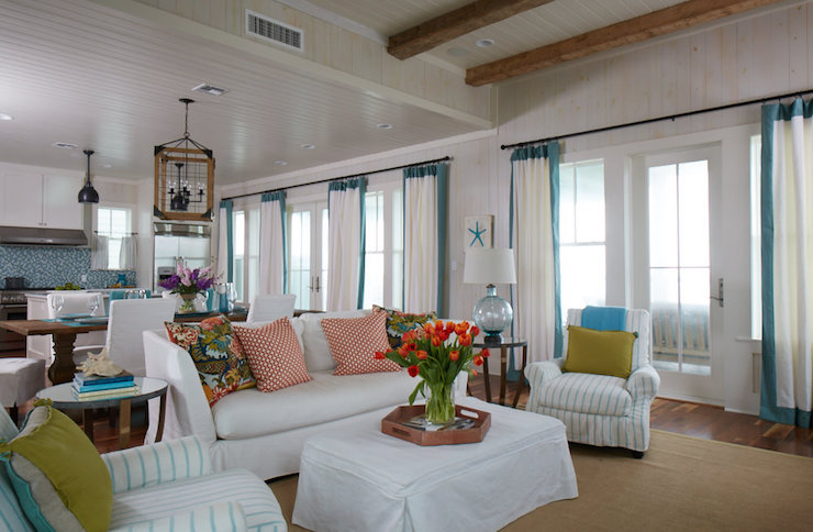Turquoise Border Curtains - Cottage - Living Room - Tracery Interiors - turquoise curtains for living room