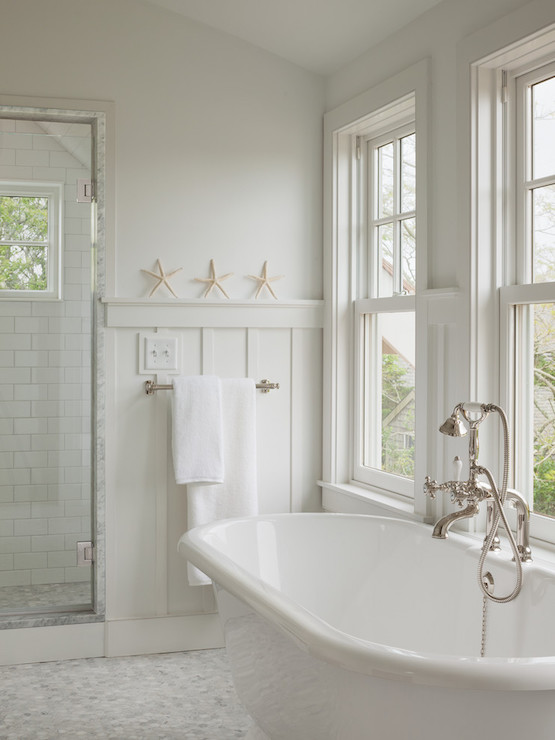 Beach House Window Treatments Board And Batten Wainscoting - Cottage - Bathroom - Sophie
