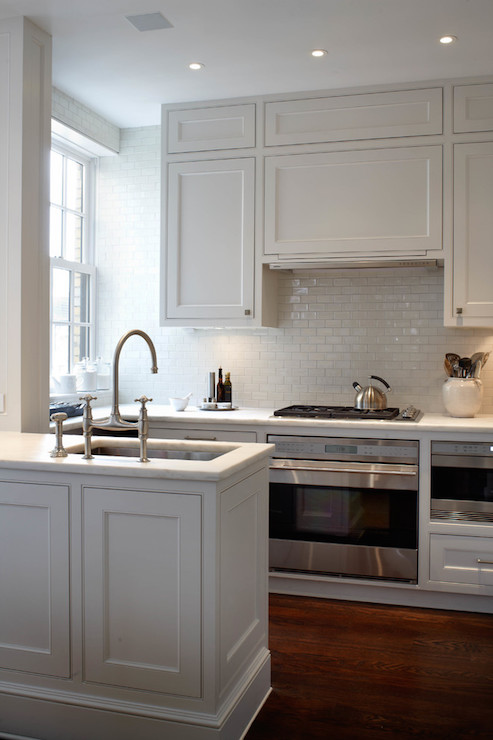 Over The Sink Lighting White Glazed Mini Subway Tiles - Transitional - Kitchen