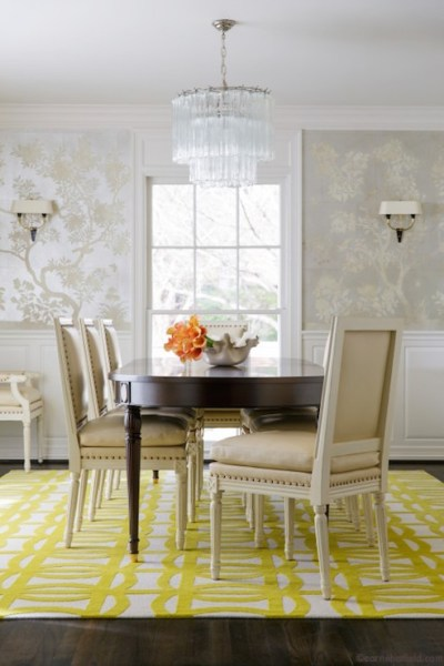 Hand Painted Silver Chinoiserie Wallpaper - Transitional ...