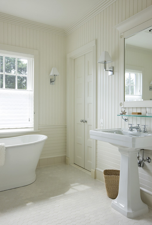 Beadboard Bathroom Bathroom With Beadboard Backsplash - Cottage - Bathroom