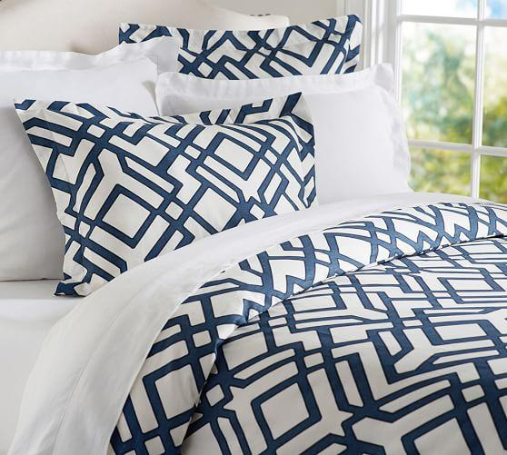 Black And White Wallpaper Designs Shelby Geo Blue And White Duvet Sham
