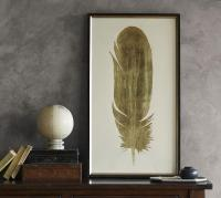Gold Leaf Feather Wall Art