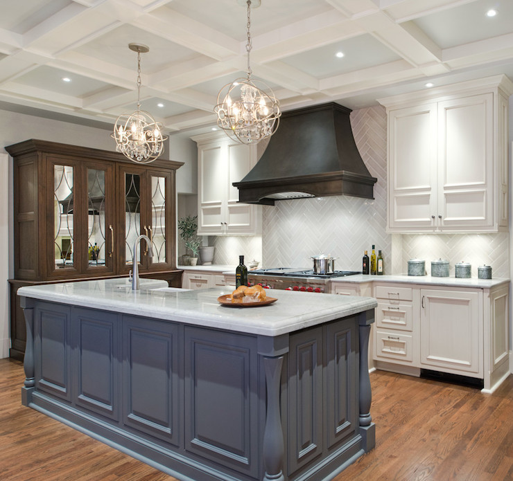 Different Shaped Kitchen Island Designs With Seating Gray Herringbone Tiles - Transitional - Kitchen - Benjamin