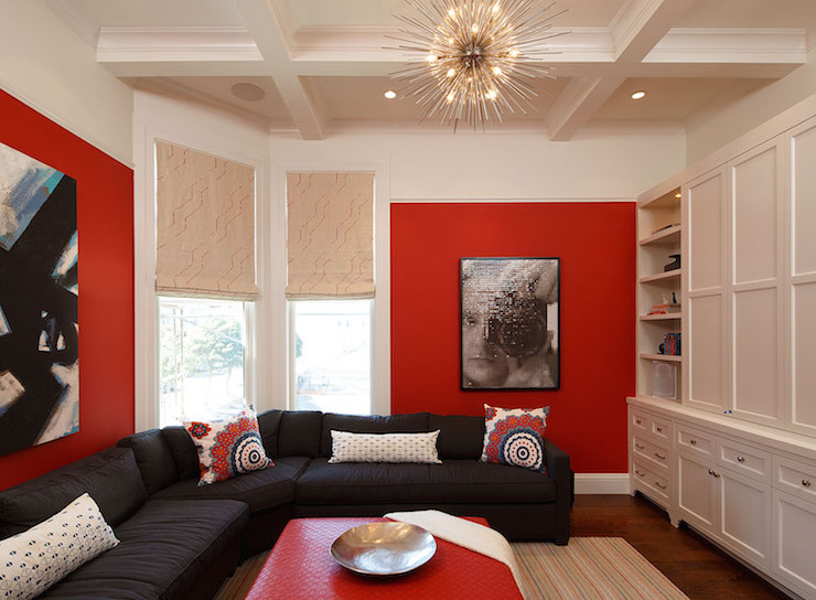 P O P Fall Ceiling Wallpaper Red And Black Rooms Contemporary Living Room