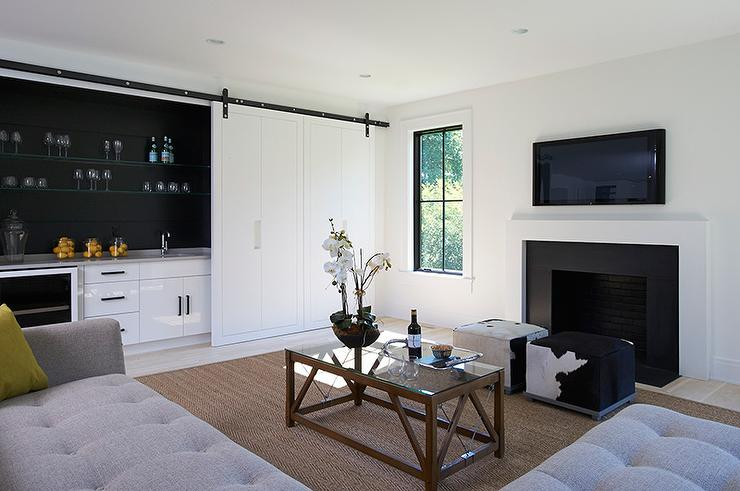 Black Beadboard Wallpaper Living Room Wet Bar With Sliding Doors Modern Living Room