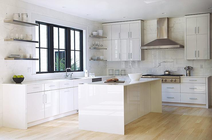 Lacquered Glass Kitchen Cabinets White Quartz Waterfall Countertops Design Ideas