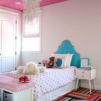 Teenage Girl Room White And Gold Polka Dot Wallpaper Kids Bedroom With Pink Ceiling Contemporary Girl S Room