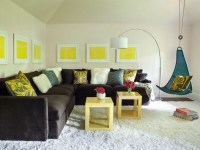 Brown Turquoise Yellow Living Room