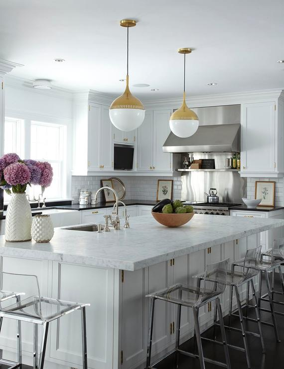 Antique White Kitchen Island Robert Abbey Rio Pendant In Antique Brass - Transitional
