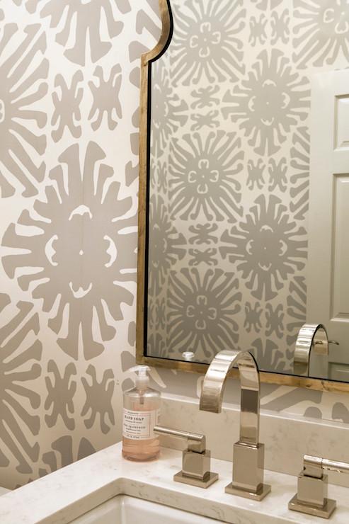 Cheetah 3d Wallpaper Gray Powder Room Wallpaper Transitional Bathroom