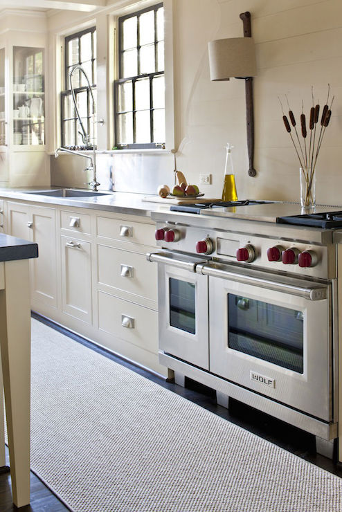 Kitchen Island Counters Cream Cabinets With Stainless Steel Countertops