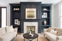 Gray Living Room Built Ins - Transitional - Living Room