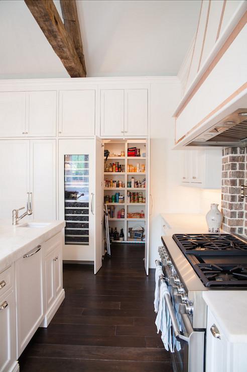 Black Brick Wallpaper Hidden Walk In Pantry Transitional Kitchen