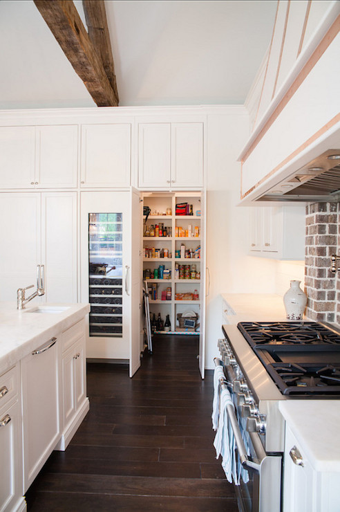 White Brick Wall Hidden Walk In Pantry - Transitional - Kitchen